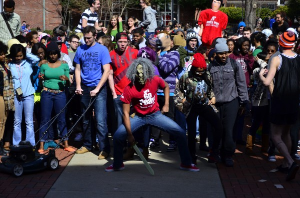 Students dancing while filming their version of the Harlem Shake in the UC Plaza on Friday, Feb. 22. Josh Vaughn | Photo Editor