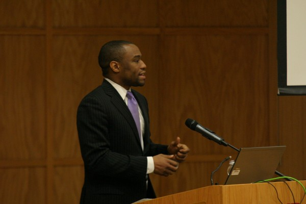 This year's Black History Month speaker, Dr. Marc Lamont Hill, discusses race, politics and American life. Janay Neal | Staff Photographer