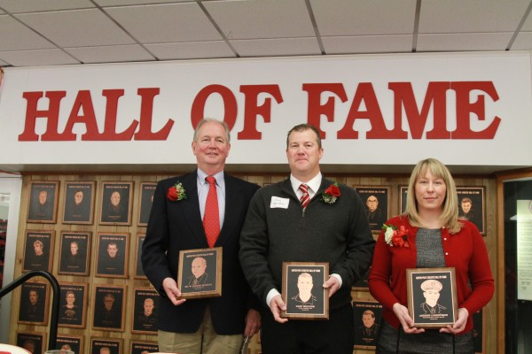 Dr. W. Cooper Beazley (left), Gary McClure (center) and Loren McCamey, granddaughter of Andrew Lorentzson. Beazley, McClure and Lorentzson were inducted into APSU Athletics Hall of Fame. Brittney Sparn | APSU Sports Information