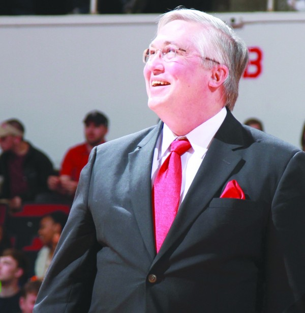 APSU President Tim Hall during halftime of the men's basketball game on Saturday, Feb. 9.  Brittney Sparn | Editor-in-Chief of the Monocle