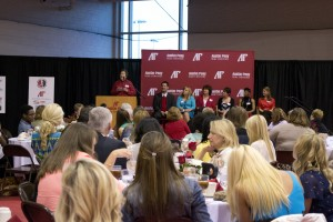 Panelists discuss the significance of Title IX and it's 40 year anniversary at the Celebration of Women in Athletics Dinner on Friday, April 5, in the Foy Center. Jessica Gray | staff photographer