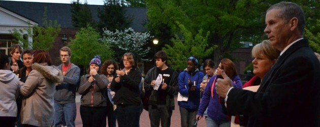 Members of the APSU community participated in a march and vigil to memorialize the tragedies that took place in Boston at the Boston Marathon on Monday, April 15 and the week following. Jessica Gray | staff photographer