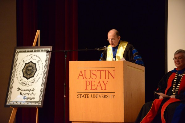Dewey Browder, president of APSU's Phi Kappa Phi, honors the new members and hall of fame inductees at the 37th initiation ceremony on Wednesday, April 10. Drew Kirk   staff photographer
