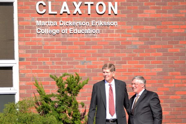 Lars Eriksson, owner of Crankshaft Rebuilders, Inc. gave APSU a $1 million donation in honor of his late wife Martha Dickerson Eriksson, APSU alumna and 32-year teacher. President Tim Hall and Eriksson unveiled the Martha Dickerson Eriksson College of Education along with many other memorials to honor the financial gift at an unveiling ceremony on Tuesday, April 30. Photo by Brittany Hickey | Staff Writer