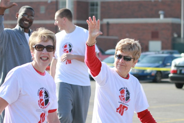 Sheryl Byrd, vice president for Student Affairs, walks with Cheryl Holt, assistant athletic director, in the Fun Walk to Celebrate Women on Saturday, April 6. Contributed by BriTTNey Sparn | APSU Sports Information