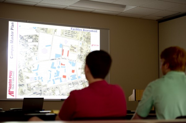 Students, faculty and staff look at APSU's master plan, forecasting what is to be expected on the APSU campus in the future on Tuesday, April 16. Darrell Sheffield | staff photographer