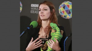 BBC's picture of Kate Darling and a Pleo.