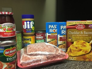 Bring in items like these, non-perishable and frozen meats.