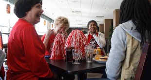 Debbe Cooper, Carolyn Yarbrough, Beth Rates and Tiasha Gray talk over lunch about their expectations for the APSU men's basketball team before the NCAA Tournament game on March, 17. Photo credit: Leann Endsley