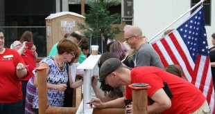 Students, faculty and staff signed the last beam for the new Art and Design Building on Monday, June 27. PHOTO BY PATRICK ROACH