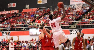 Dre'Kalo Clayton goes for the basket against SIUE.