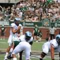 Vito Priore takes a snap at Peden Stadium against Ohio in 2019. Photo courtesy of URI sports information