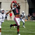 Baniko Harley reels in a catch during Saturday's game against Cincinnati | APSU SPORTS INFORMATION