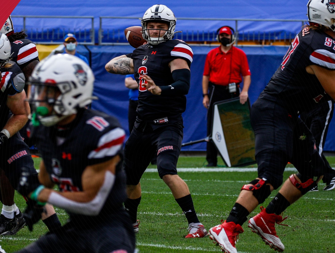 Quarterback Jeremiah Oatsvall prepares for a pass against the Pittsburgh Panthers | APSU SPORTS INFORMATION