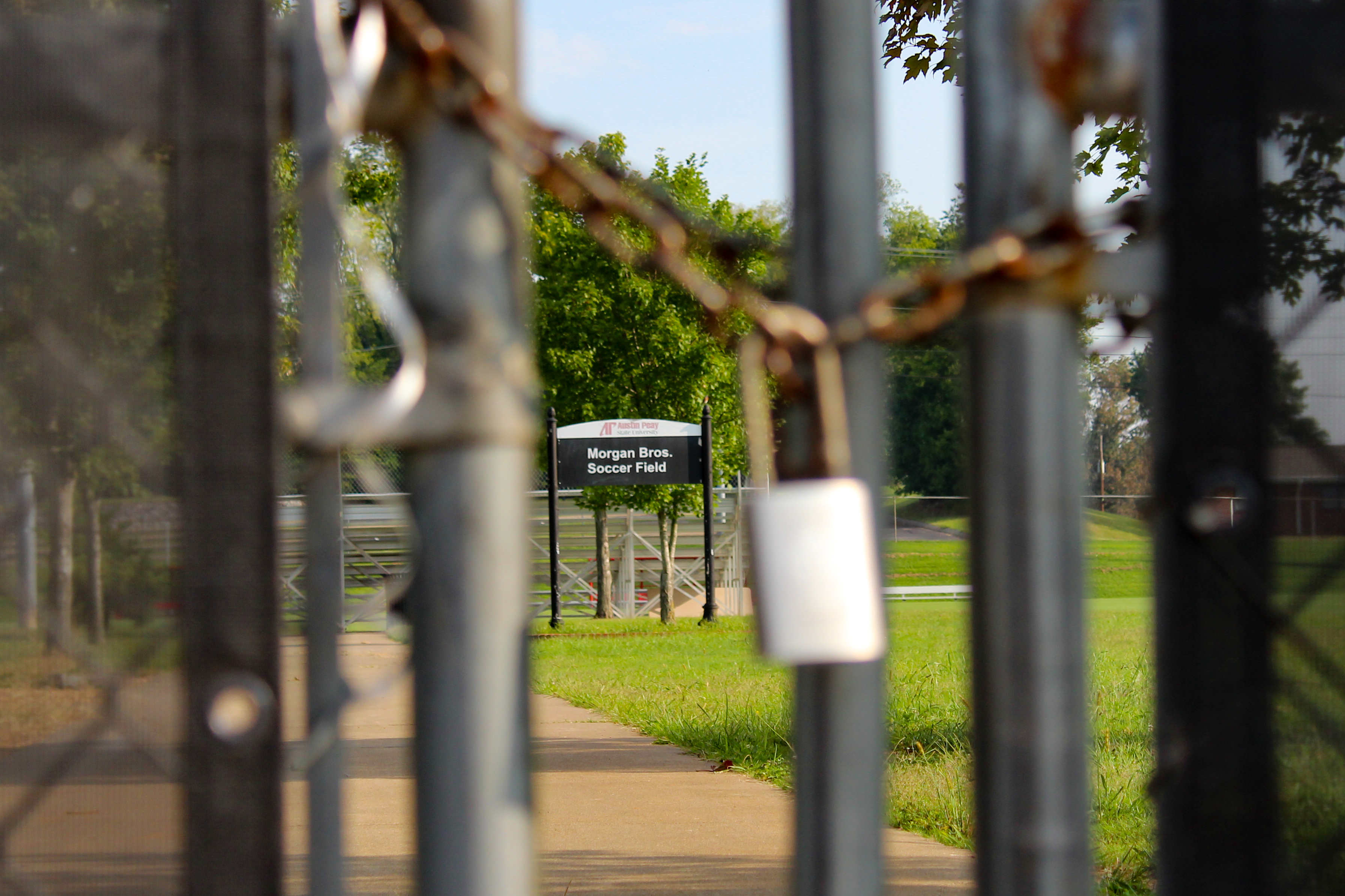 A locked gate bars entry into APSU's Morgan Brothers Soccer Field. NICHOLE BARNES | THE ALL STATE