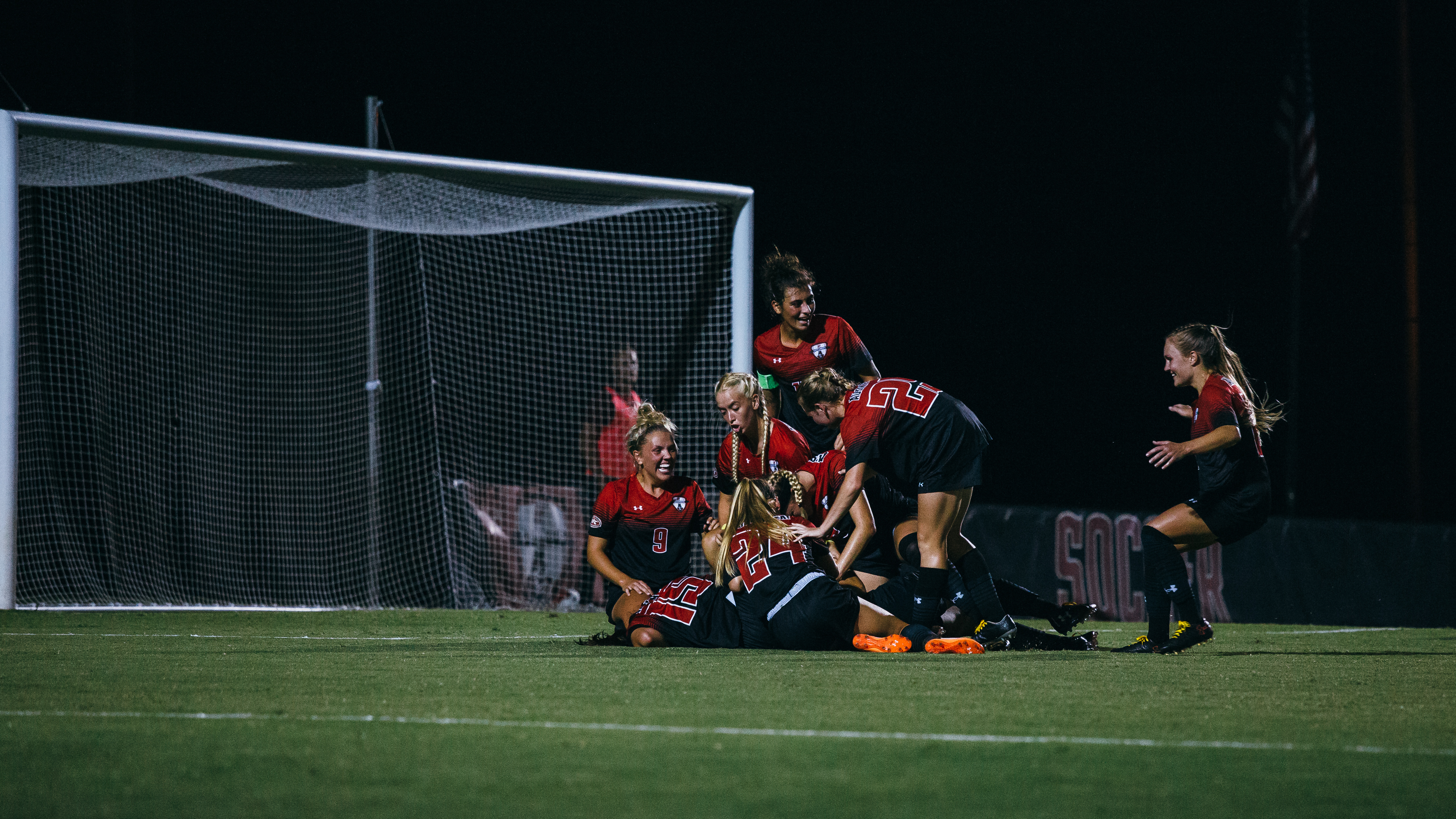 The Governors soccer program celebrates during a 2019 match against Southeast Missouri State. THE ALL STATE ARCHIVES