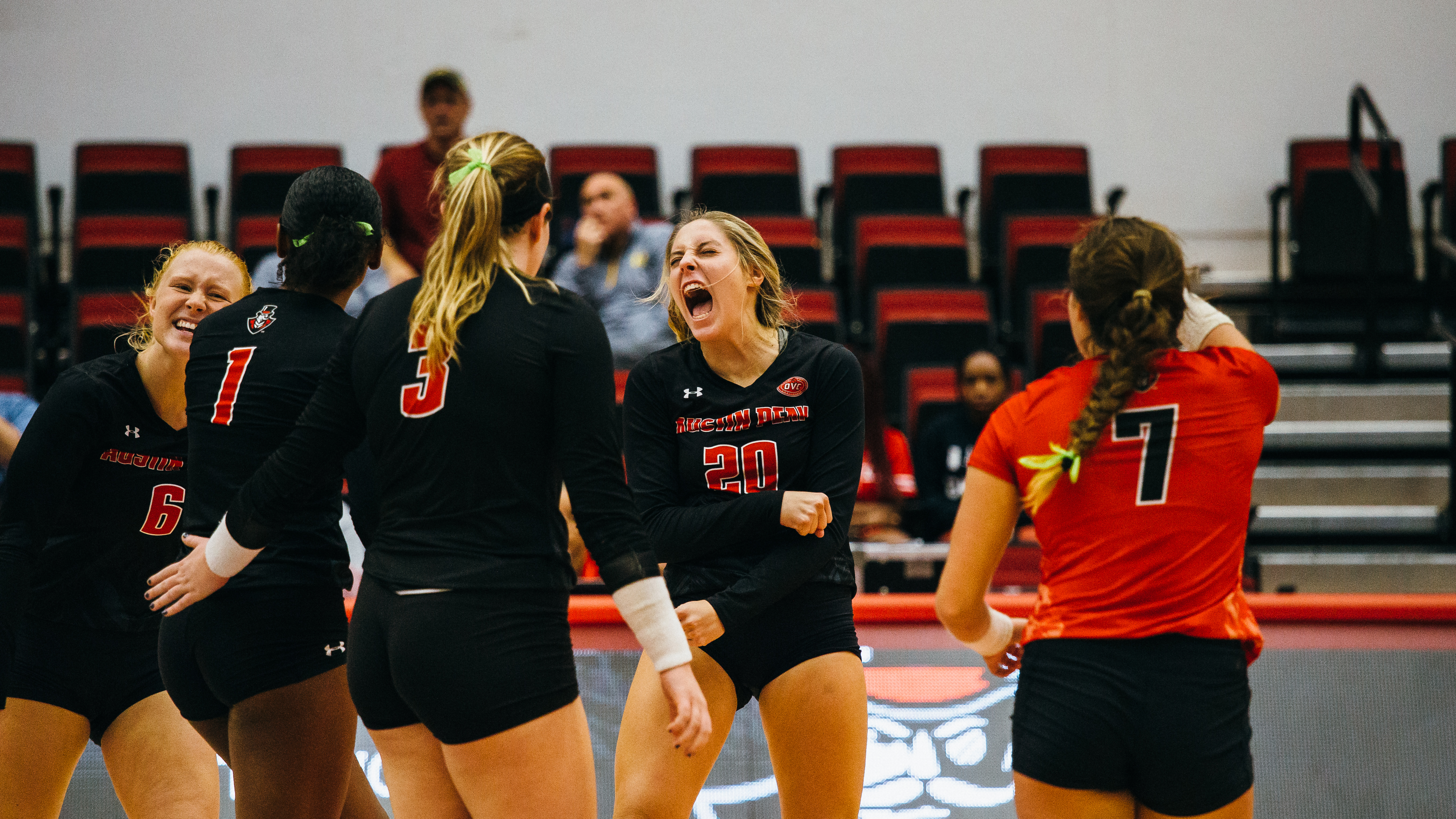 Sophomore Kelsey Mead (20) celebrates following a set against Southeast Missouri State. THE ALL STATE ARCHIVES