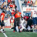 Senior defensive tackle Josephus Smith celebrates following a play against UT Martin in 2019   THE ALL STATE ARCHIVES