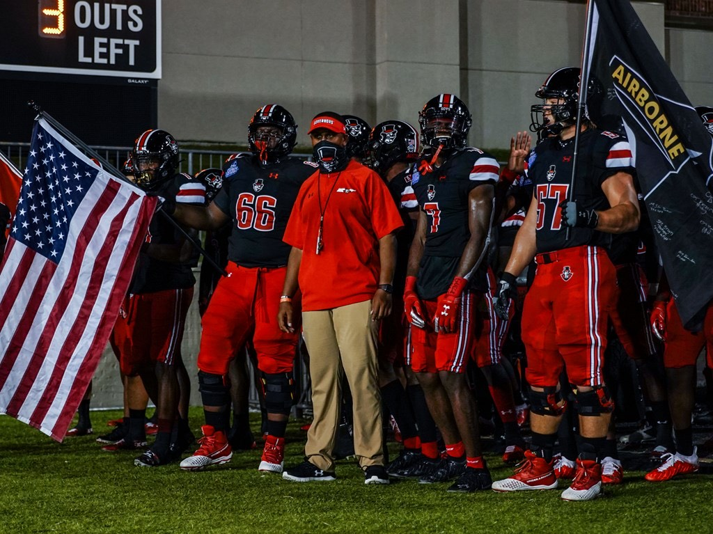 Marquase Lovings stands with his team prior to the Governors FCS Kickoff against Central Arkansas | APSU SPORTS INFORMATION