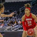 Brianah Ferby sizes up a Belmont defender at the 2020 Ohio Valley Conference Tournament. MAISIE WILLIAMS | THE ALL STATE