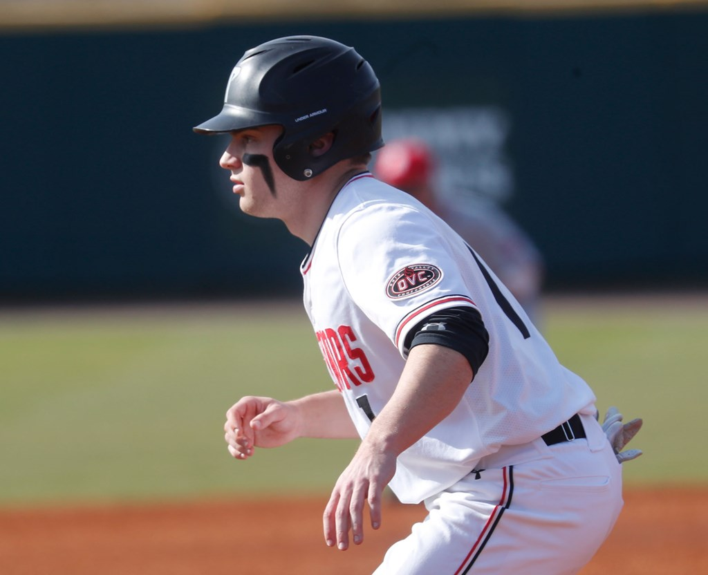 Gino Avros attempts to swipe a base in a game last season against Bradley. ROBERT SMITH | APSU SPORTS INFORMATION