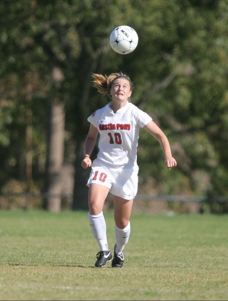 Sara Kluttz heads a ball in a 2009 match against UT Martin. | APSU SPORTS INFORMATION