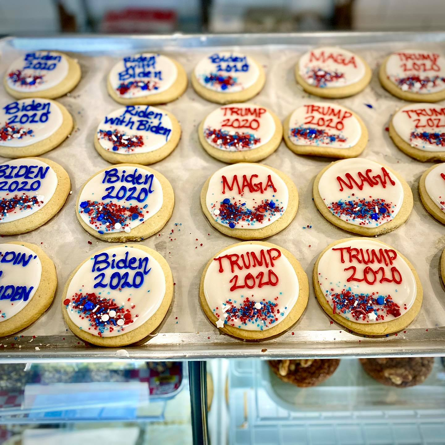 Golly G's presidental candidate cookies are seen on display in store. | PHOTO SUBMITTED FROM GOLLY G'S