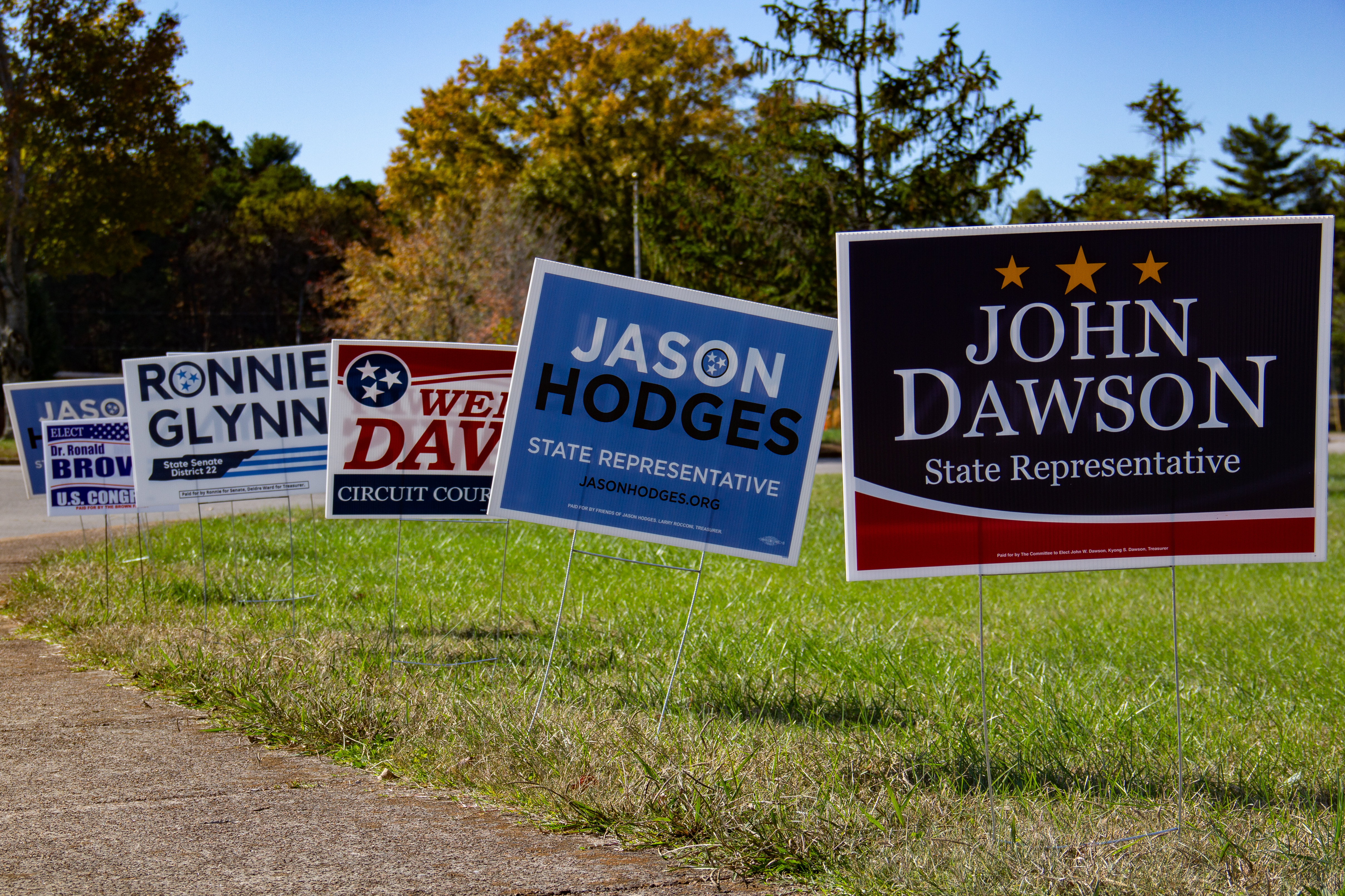 Signs are displayed for different candidates in the middle Tennessee area. NICHOLE BARNES   THE ALL STATE