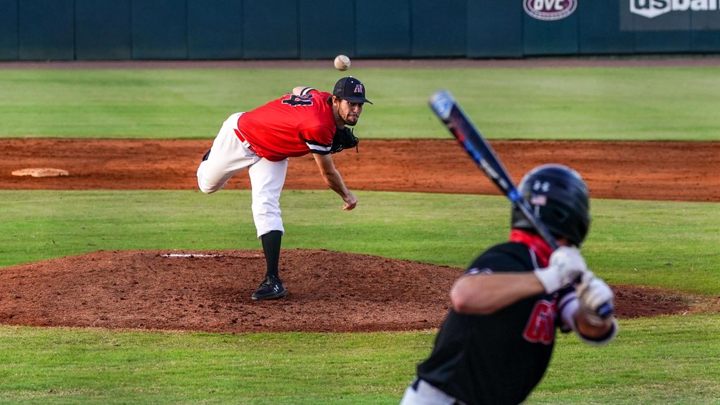 Hayden Josephson hurls a pitch in the Red and Black World Series. ERIC ELLIOT | APSU SPORTS INFORMATION