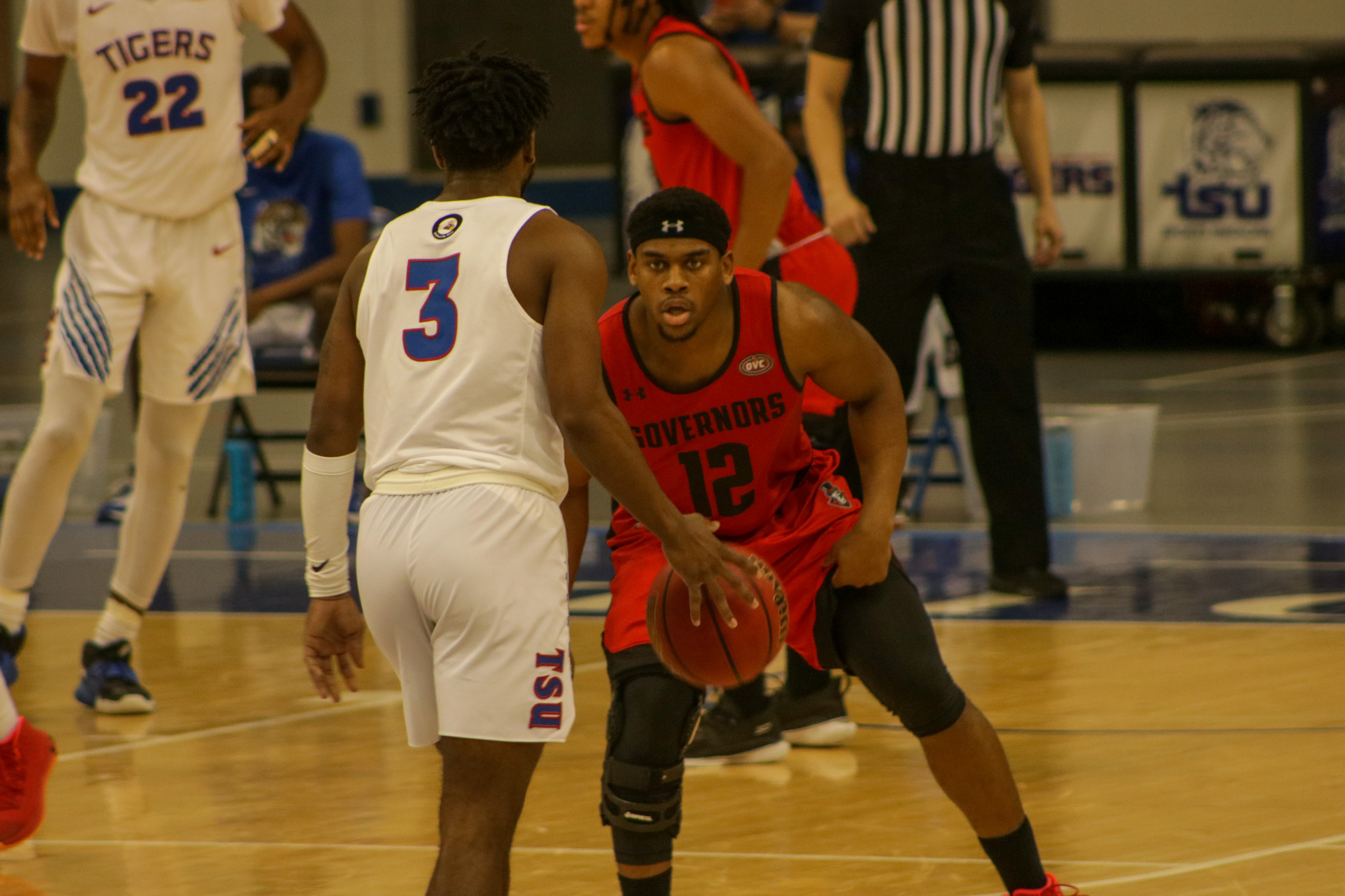 Reginald Gee guards Amorey Womack during the Governors 68-59 win over Tennessee State. BLAINE KELLAR | THE ALL STATE