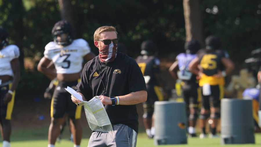 Scotty Walden watches his players during a practice while coaching at Southern Mississippi. | USM SPORTS INFORMATION