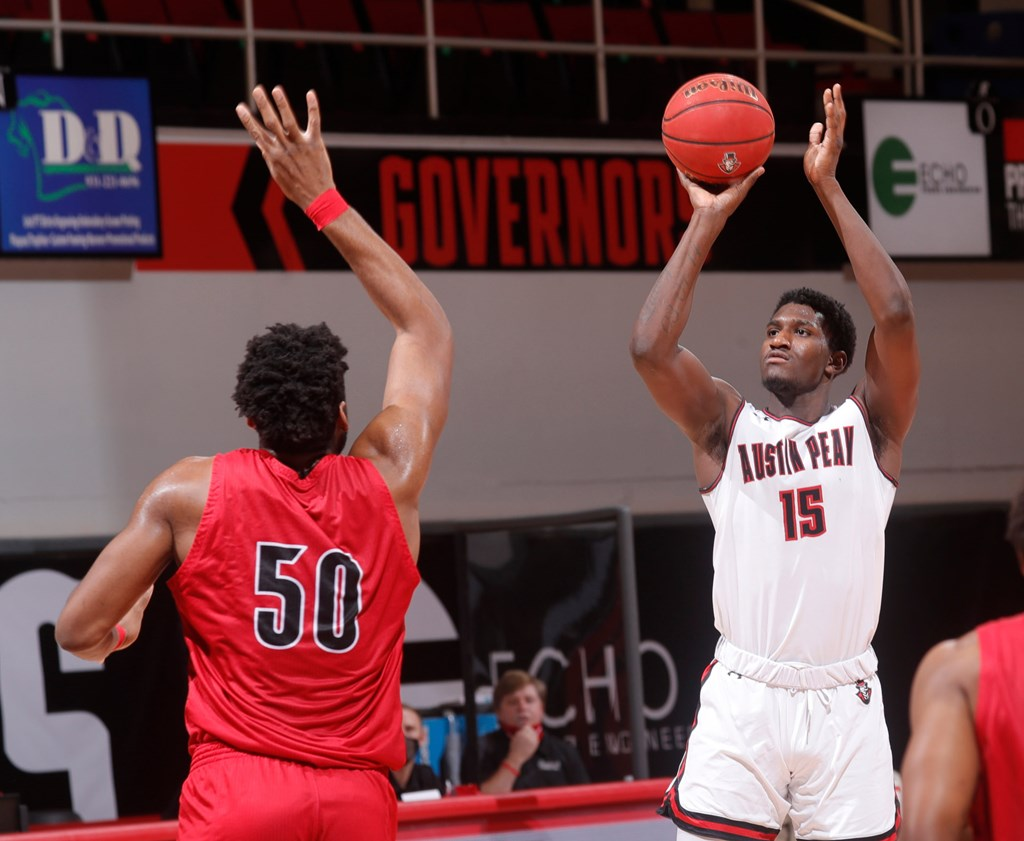 Mike Peake scored 17 for APSU in their home loss against the Gamecocks. ROBERT SMITH | APSU ATHLETICS