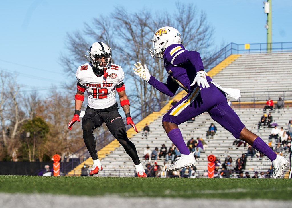 Nathan Page guards a Tennessee Tech wide receiver during a 27-21 loss on Feb. 21. CASEY CRIGGER | APSU ATHLETICS