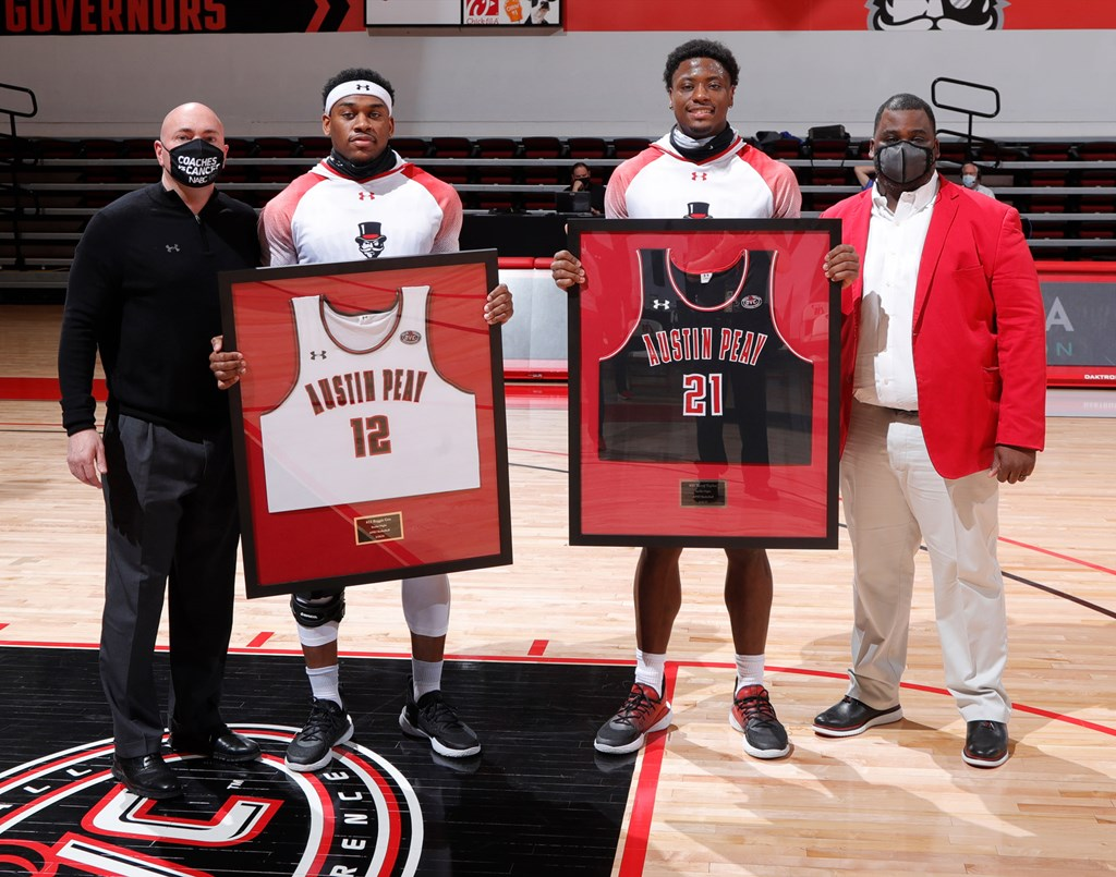 Reginald Gee (12) and Terry Taylor (21) were honored in a senior night presentation before APSU's home finale against Eastern Ilinois. ROBERT SMITH | APSU ATHLETICS