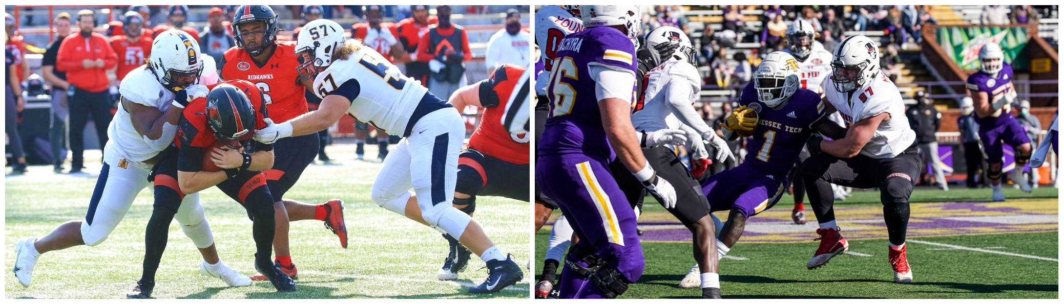 Former teammates Kenneth Martin (left) and Eric Johanning (right) match up as rivals on Saturday, April 3. | APSU AND MURRAY STATE ATHLETICS
