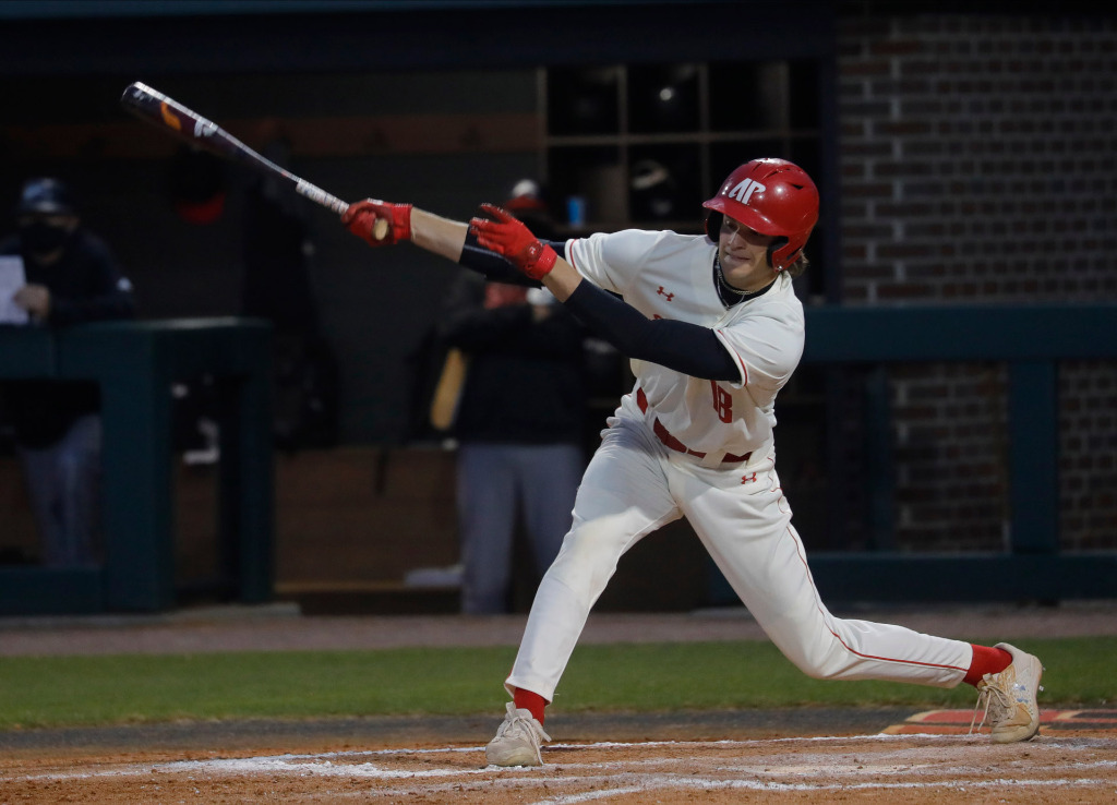 Harrison Brown swings at a pitch against SIUE. ROBERT SMITH | APSU ATHLETICS