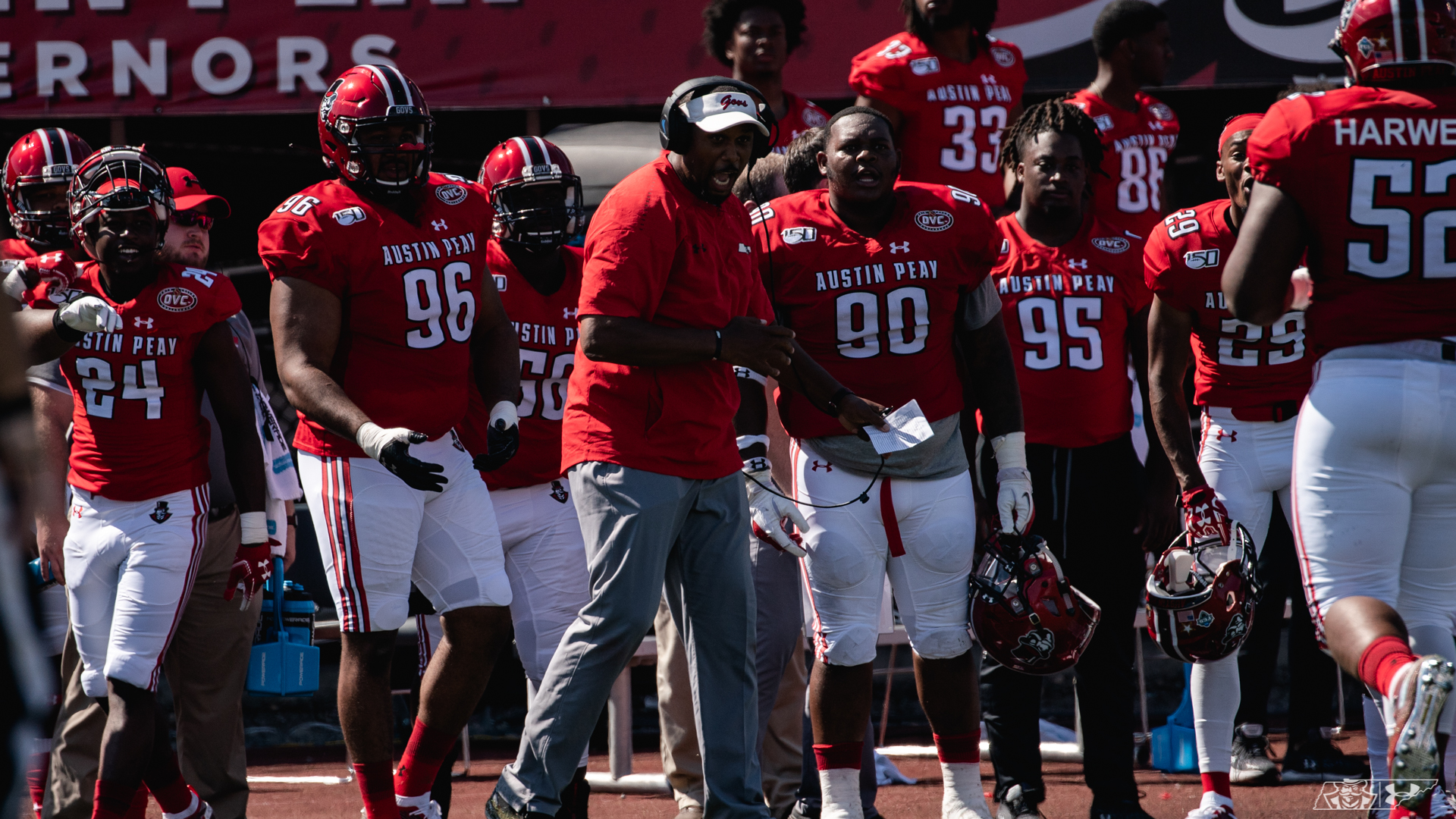 Marquase Lovings active on the sidelines in a game against Central Arkansas