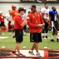 Mark Hudspeth and Marquase Lovings exchange words during a 2014 practice at Louisiana Lafayette | THE DAILY ADVERTISER