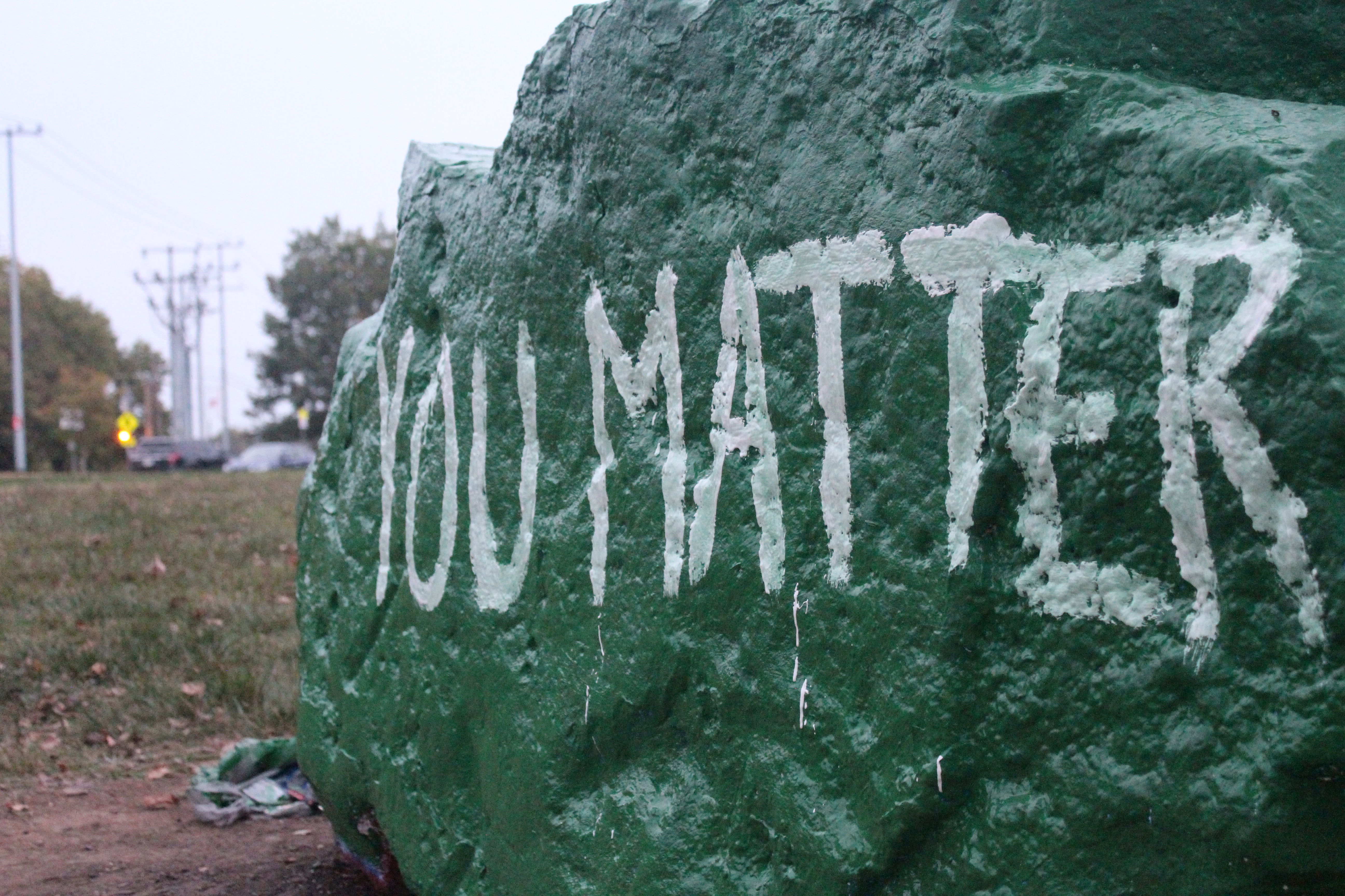 Members of the Student-Athlete Advisory Committee painted APSU's spirit rock as part of Mental Health Awareness Week. KELSEY STORY | THE ALL STATE