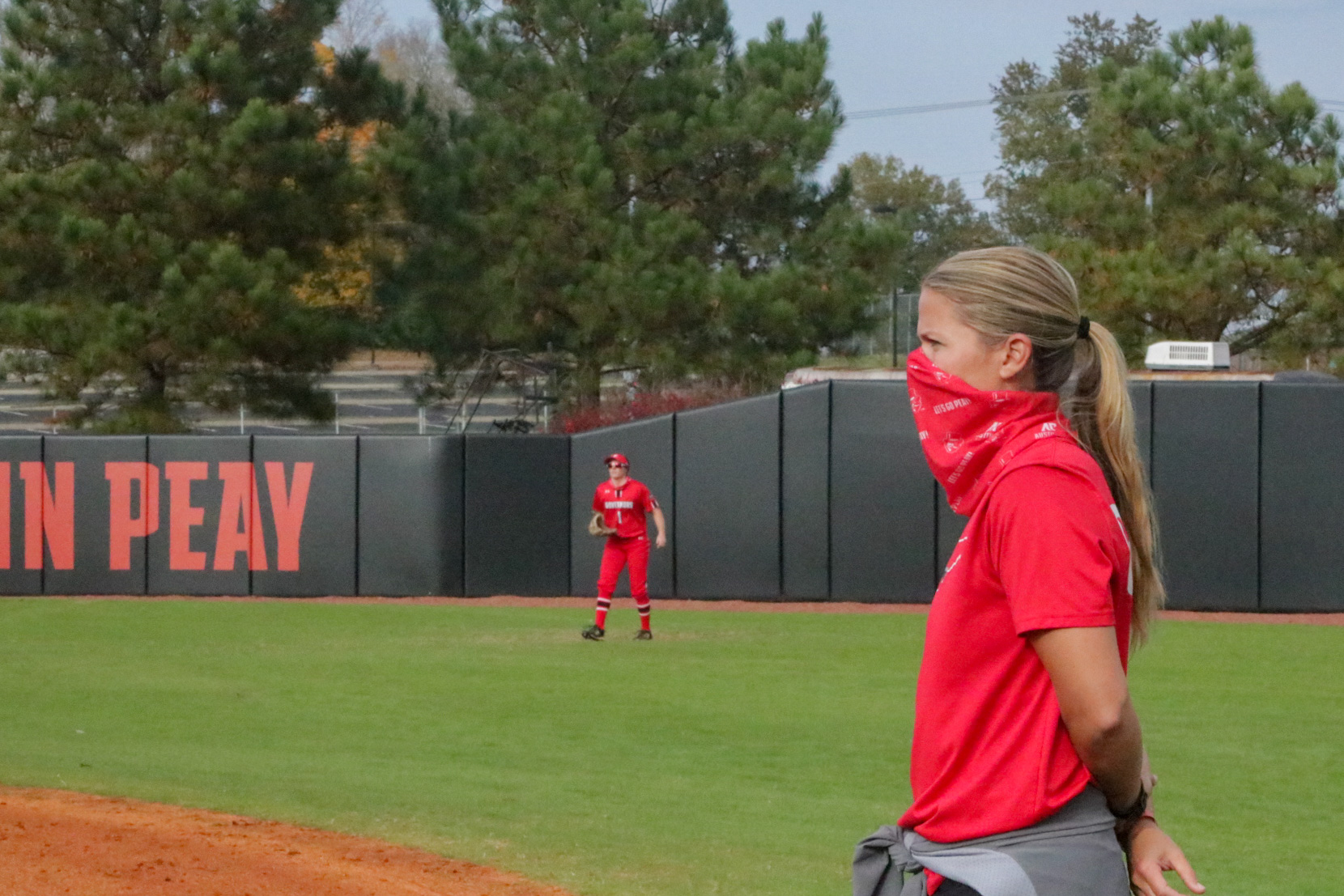 Head coach Kassie Stanfill looks on during the Red and Black softball World Series. BLAINE KELLAR   THE ALL STATE