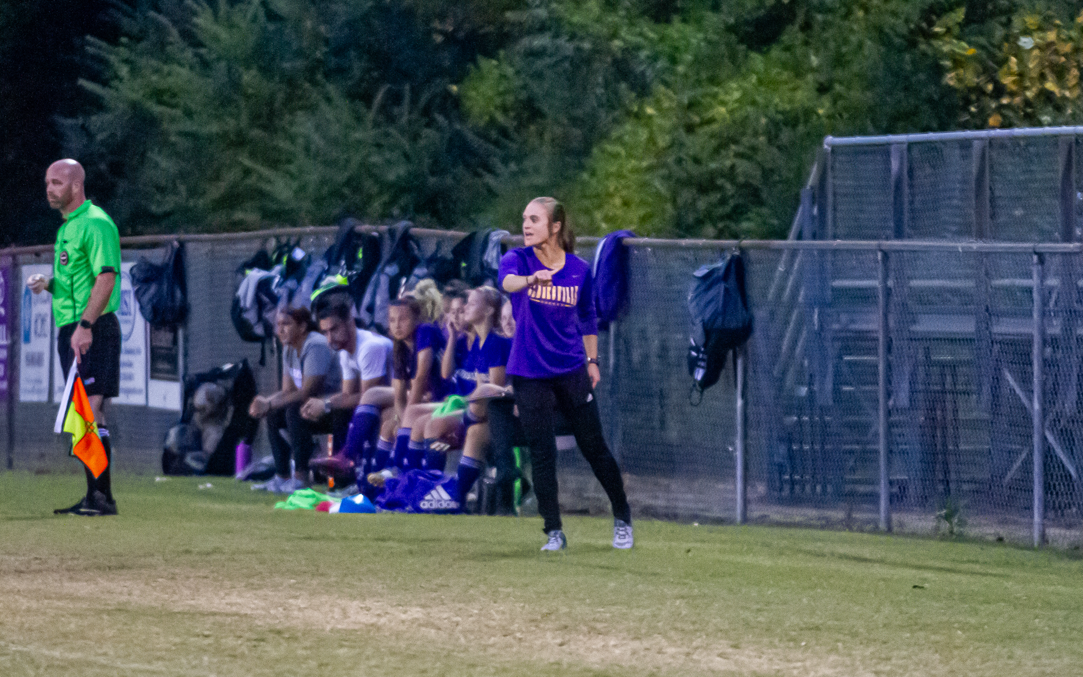 Former Governor Sara Kluttz coaches from the sideline for Clarksville High School. IAN CASTLE | IAN CASTLE PHOTOGRAPHY