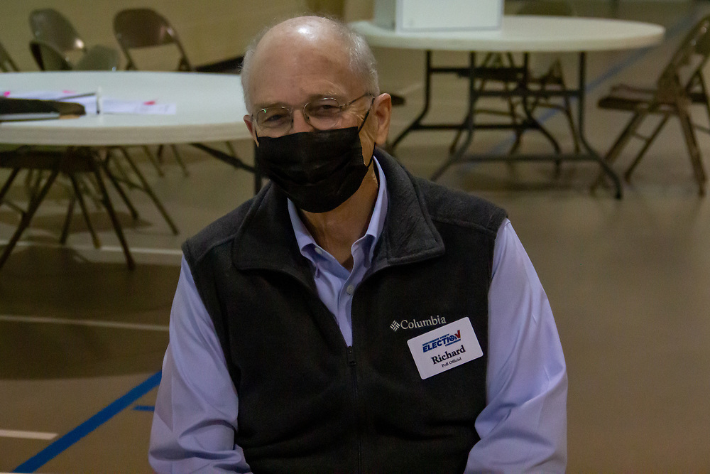 Richard Swift poses while working as a Poll Official in Montgomery County. NICHOLE BARNES | THE ALL STATE