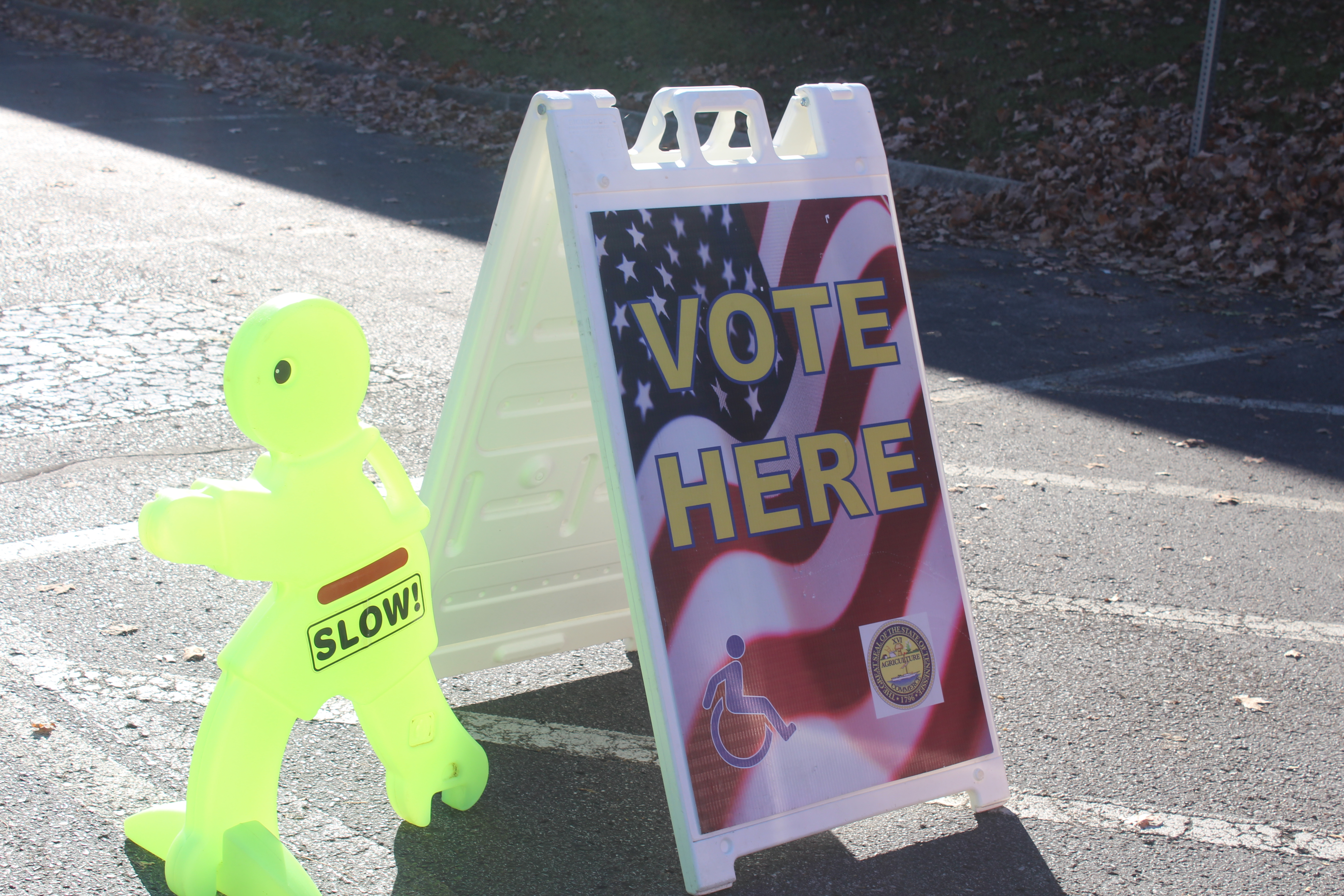 A sign is posted outside of Cumberland Presbyterian Church to vote. KELSEY STORY | THE ALL STATE