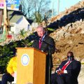 Clarksville mayor Joe Pitts speaks at the multi-purpose event center's groundbreaking ceremony. KELSEY STORY | THE ALL STATE