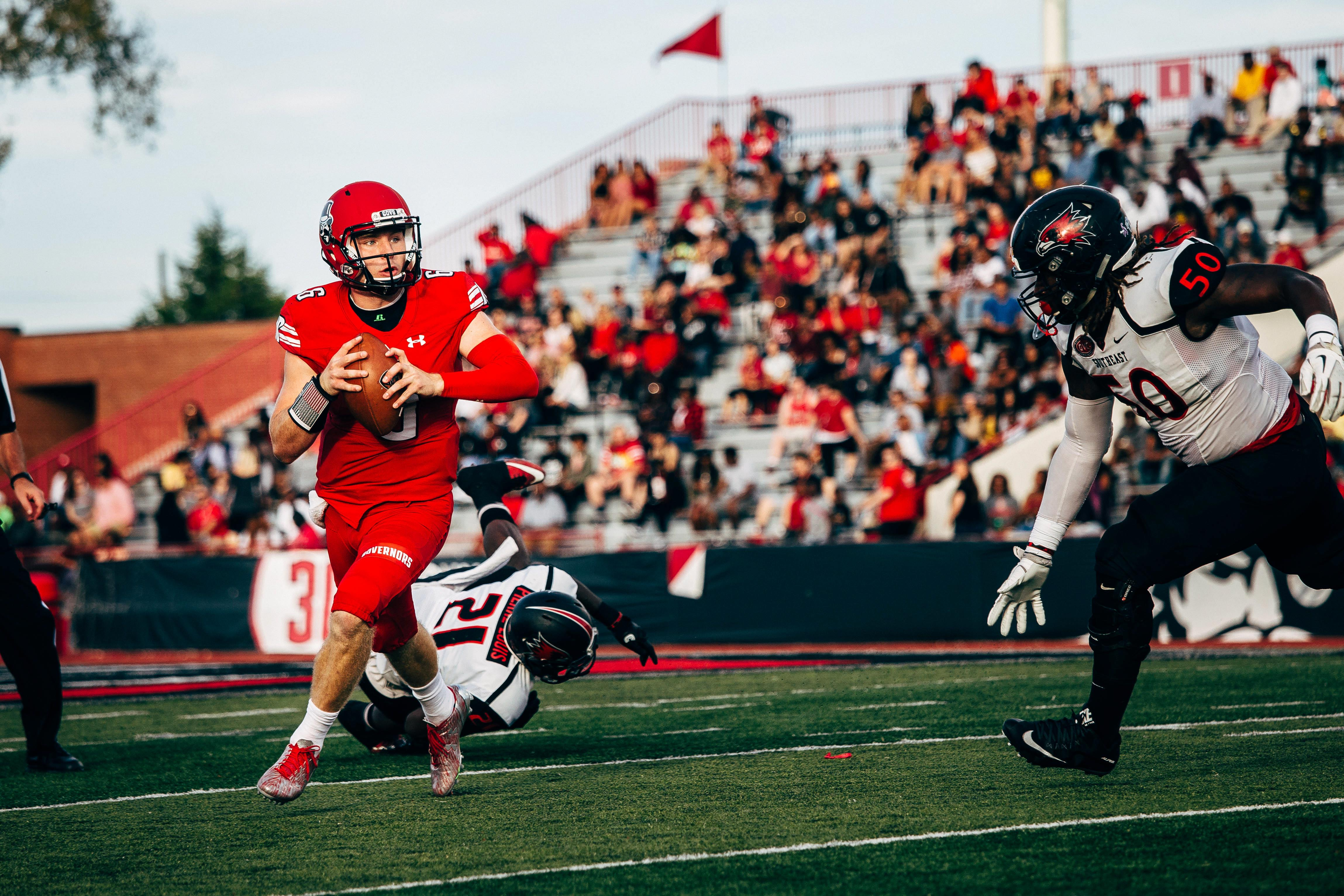 Quarterback Jeremiah Oatsvall rolls out of the pocket during a 2017 game against Southeast Missouri State. | THE ALL STATE ARCHIVES