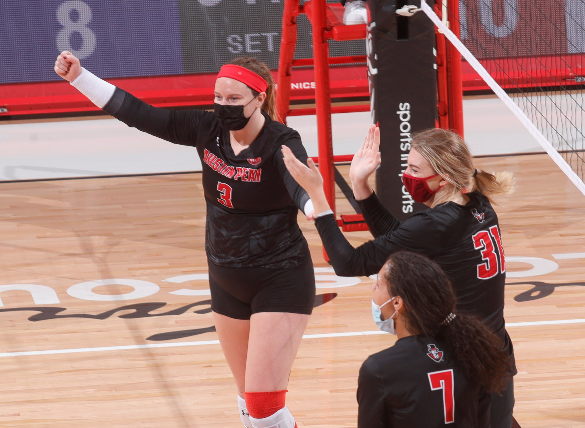 Brooke Moore (3) and the APSU volleyball team swept Tennessee Tech in each of their first two games this season. ROBERT SMITH   APSU ATHLETICS
