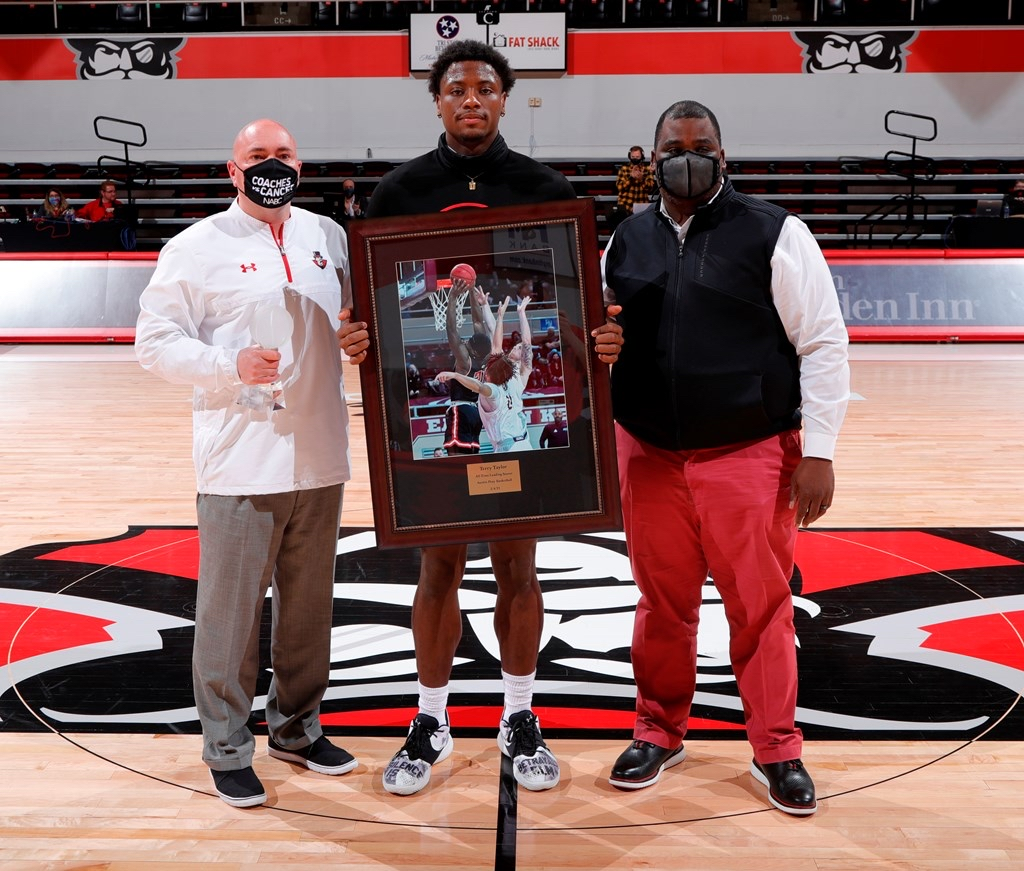 Terry Taylor was honored as APSU's all-time leading scorer on Feb. 13. ROBERT SMITH   APSU ATHLETICS