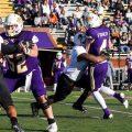 An APSU defender applies pressure to Tennessee Tech quarterback Bailey Fisher. CASEY CRIGGER   APSU ATHLETICS
