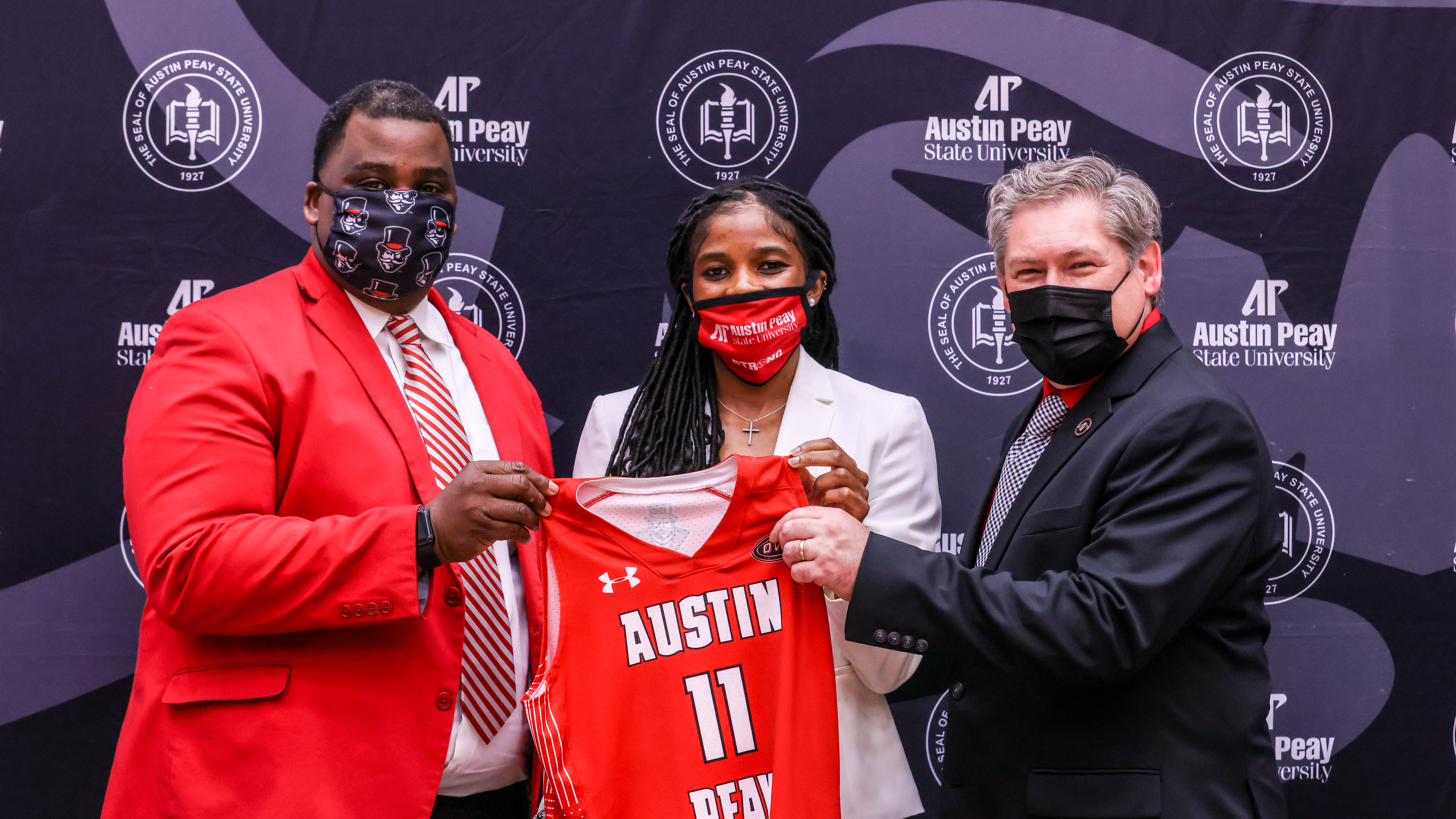 Brittany Young is introduced as the newest head women's basketball coach at APSU. ERIC ELLIOT | APSU ATHLETICS