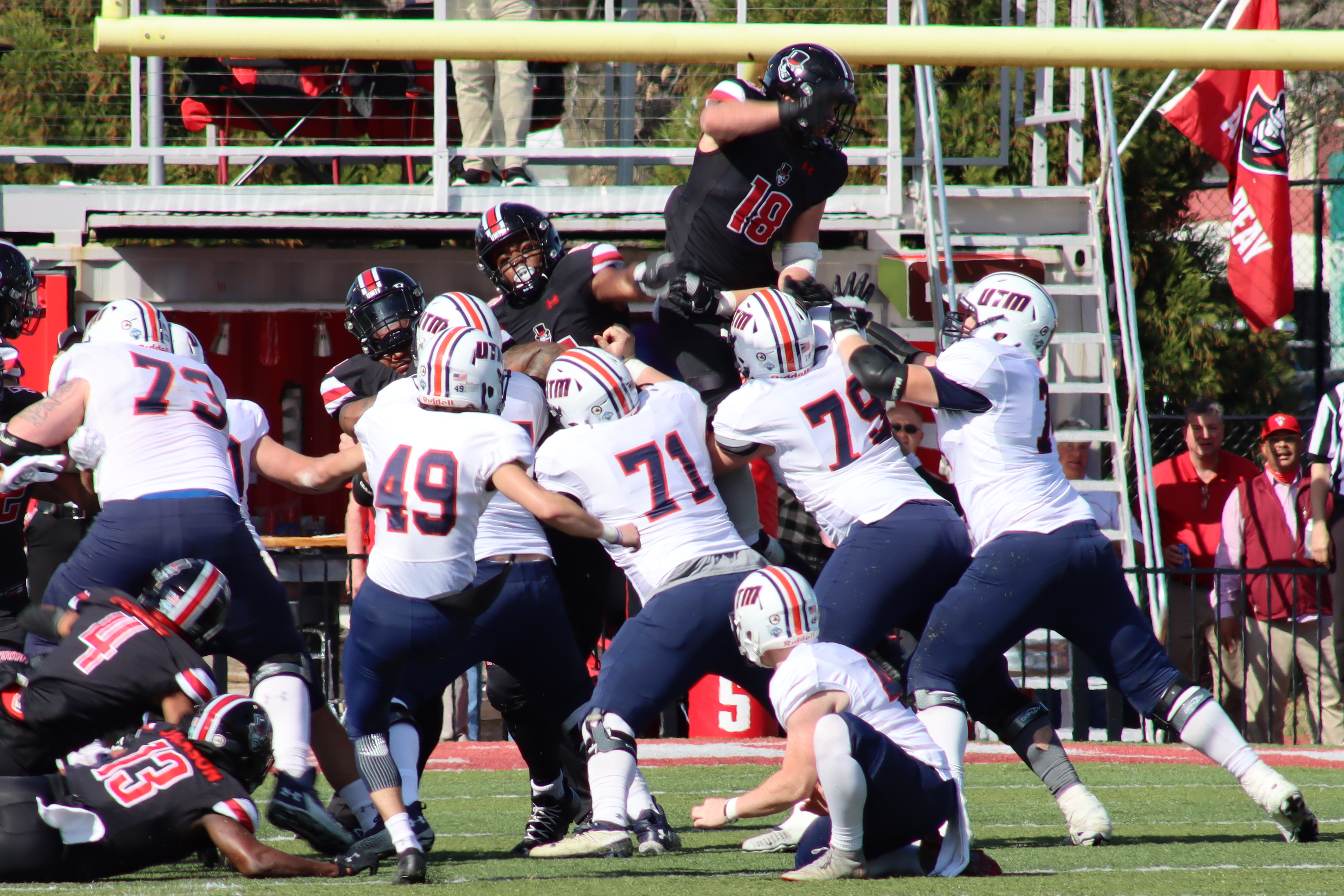 Jack McDonald (18) attempts to block a field goal from UT Martin's Tyler Larco (49). NICHOLE BARNES   THE ALL STATE